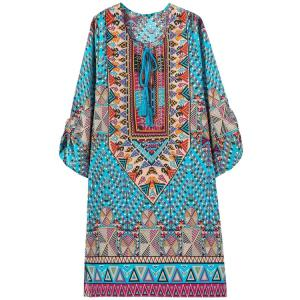 Ethnic Style Jewel Neck Floral Geometric Print 3/4 Sleeve Dress For Women - Water Blue - S