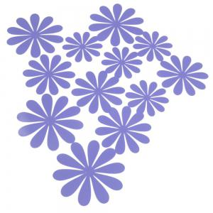 DIY 3D Flowers Wall Sticker Mirror Art Decal PVC Paper for Home Showcase - 12Pcs - Purple - 50*70cm