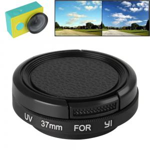 37mm Glass UV Filter Lens + Lens Cap with Adapter Accessory for Yi Action Camera - Black