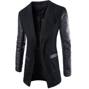 Trendy Lapel Large Pocket PU Leather Splicing Slimming Long Sleeve Woolen Blend Coat For Men - Black - 2xl