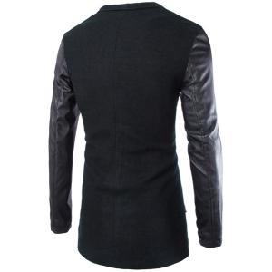 Trendy Lapel Large Pocket PU Leather Splicing Slimming Long Sleeve Woolen Blend Coat For Men - BLACK 2XL