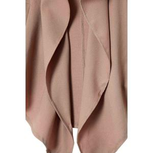 Lapel Neck Long Sleeve Solid Color Trench Coat - CAMEL M