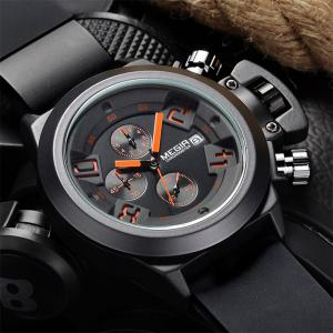 MEGIR 2002 Male Quartz Watch Date Display Silicone Band 30M Water Resistance - BLACK