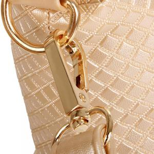 Gorgeous Checked and Metal Design Women's Shoulder Bag - OFF WHITE