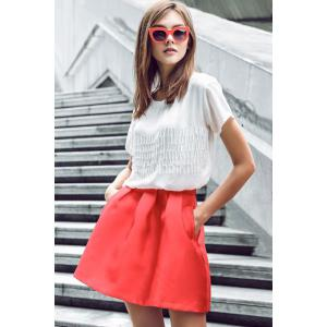 Fashionable Zipper Fly Solid Color Pleated Skirt For Women