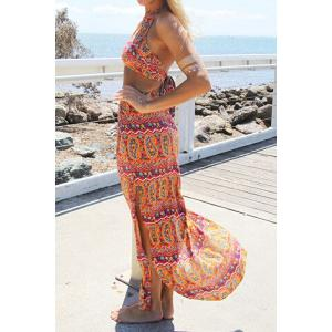 Stylish Halter Backless Crop Top + High-Waisted Ethnic Pattern Skirt Women's Twinset -