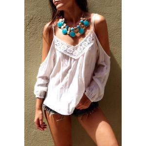 Sexy Style Spaghetti Strap White Lace Splicing Long Sleeve T-Shirt For Women
