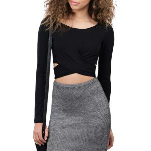 Stylish Scoop Neck Long Sleeve Solid Color Cross Women's Crop Top - Black - M