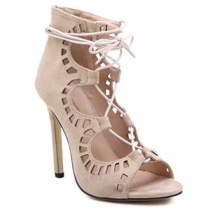 Stiletto Heel Lace Up Cut Out Sandals -