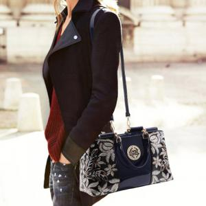 Retro Flower Pattern and Sequined Design Women's Tote Bag - BLACK