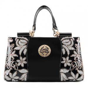 Retro Flower Pattern and Sequined Design Women's Tote Bag - Black - 39
