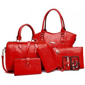 Embossed Tote Handbag 6Pc Set
