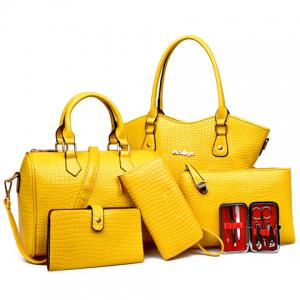 Embossed Tote Handbag 6Pc Set - Yellow - L