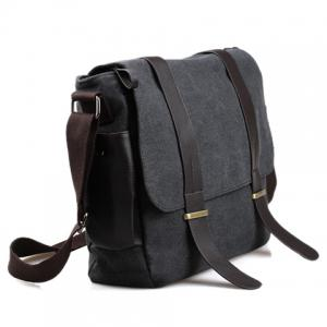 Stylish Style Splice and Canvas Design Men's Messenger Bag -