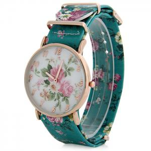 Floral Pattern Leather Band Women Quartz Watch -