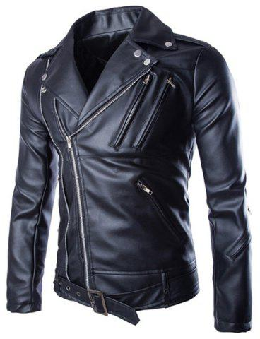 Trendy Lapel Slimming Solid Color Multi-Zipper Long Sleeve PU Leather Jacket For Men(with Belt) - Black - L