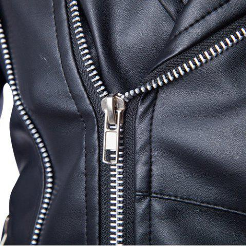 Store Trendy Lapel Slimming Solid Color Multi-Zipper Long Sleeve PU Leather Jacket For Men(with Belt) - M BLACK Mobile