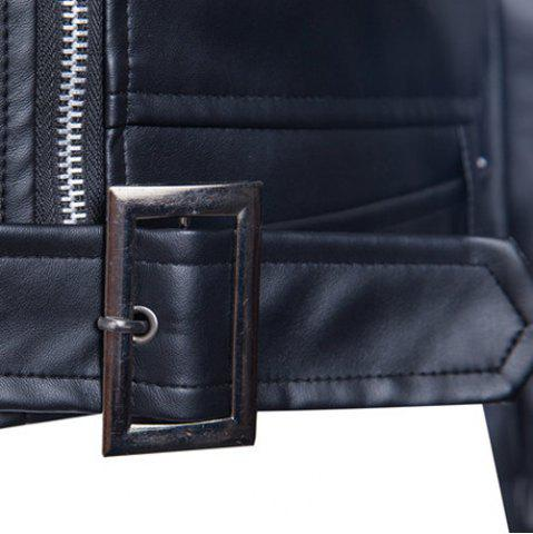 Fashion Trendy Lapel Slimming Solid Color Multi-Zipper Long Sleeve PU Leather Jacket For Men(with Belt) - M BLACK Mobile