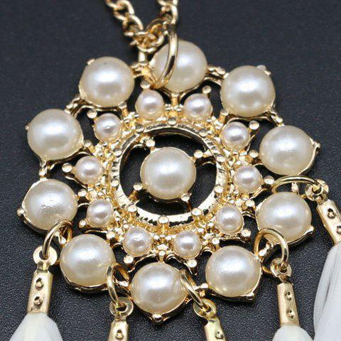 Shops Feather Tassel Faux Pearl Sweater Chain - WHITE  Mobile