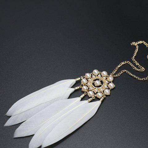 Fashion Feather Tassel Faux Pearl Sweater Chain - WHITE  Mobile