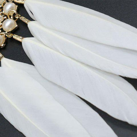 Online Feather Tassel Faux Pearl Sweater Chain - WHITE  Mobile