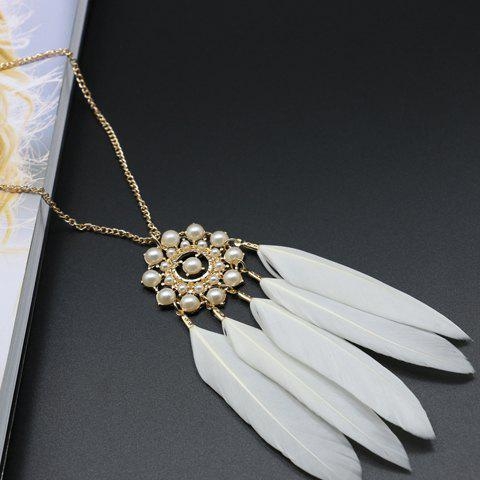 New Feather Tassel Faux Pearl Sweater Chain - WHITE  Mobile