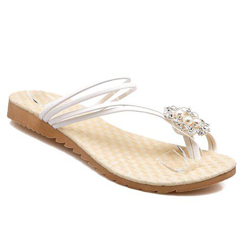 Hot Stylish Faux Pearl and Rhinestones Design Women's Slippers