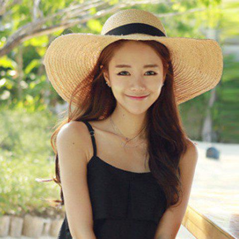 Outfits Chic Black Lace-Up Embellished Wide Brim Straw Hat For Women