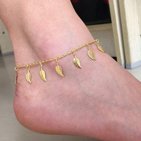 Unique Leaf Tassel Charm Anklet - GOLDEN  Mobile