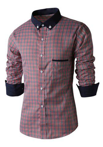 Unique Fashion Shirt Collar Color Block Plaid Splicing Slimming Long Sleeve Polyester Shirt For Men