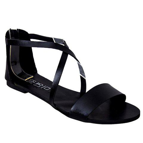 Store Simple Style Criss-Cross and Solid Color Design Women's Sandals