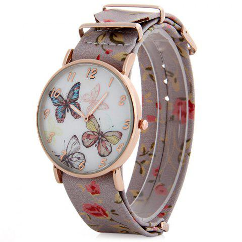 Trendy Butterfly Dial Floral Pattern Leather Band Women Casual Quartz Watch