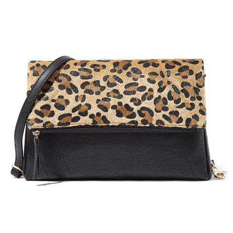 Discount Sexy Zipper and Leopard Print Design Women's Crossbody Bag
