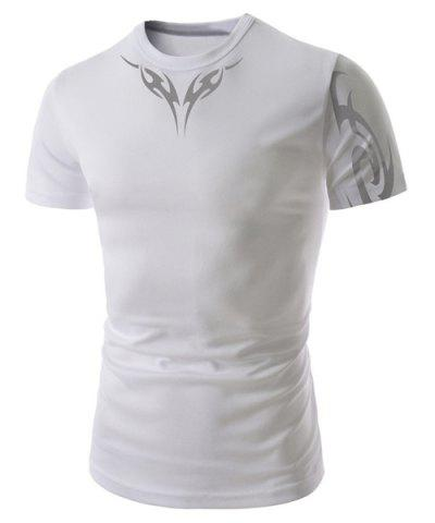 Store Fashion Round Neck Abstract Tattoo Print Slimming Short Sleeve Polyester T-Shirt For Men