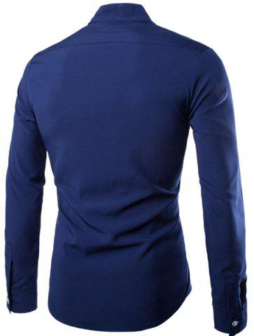 Trendy Fashion Stand Collar Color Block Placket Buttons Design Slimming Long Sleeve Cotton Blend Shirt For Men - XL CADETBLUE Mobile