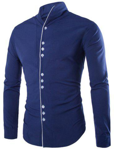 Outfit Fashion Stand Collar Color Block Placket Buttons Design Slimming Long Sleeve Cotton Blend Shirt For Men CADETBLUE L