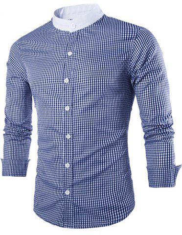 New Vogue Stand Collar Tiny Checked Splicing Slimming Long Sleeve Cotton Blend Shirt For Men BLUE L