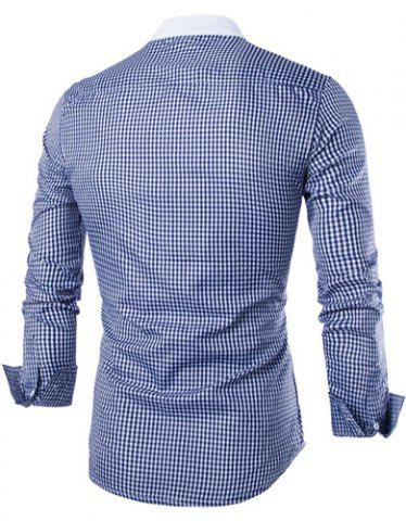 Sale Vogue Stand Collar Tiny Checked Splicing Slimming Long Sleeve Cotton Blend Shirt For Men - 2XL BLUE Mobile