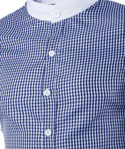 Chic Vogue Stand Collar Tiny Checked Splicing Slimming Long Sleeve Cotton Blend Shirt For Men - 2XL BLUE Mobile