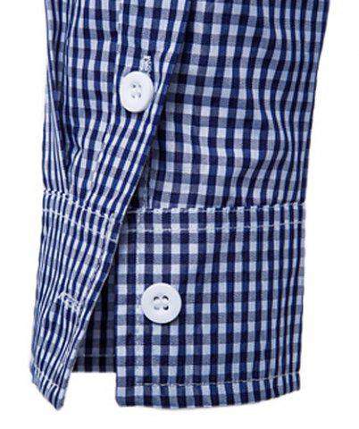 Latest Vogue Stand Collar Tiny Checked Splicing Slimming Long Sleeve Cotton Blend Shirt For Men - 2XL BLUE Mobile