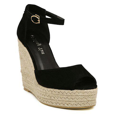 Discount Suede Weaving Ankle Strap Wedge Sandals - 35 BLACK Mobile