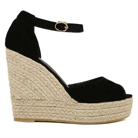 Trendy Suede Weaving Ankle Strap Wedge Sandals - 35 BLACK Mobile