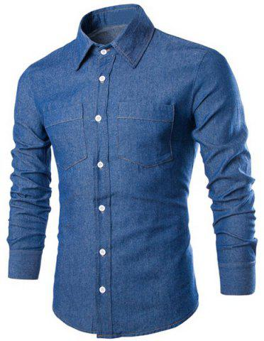 New Fashion Shirt Collar Solid Color Double Pockets Slimming Long Sleeve Denim Shirt For Men DEEP BLUE M