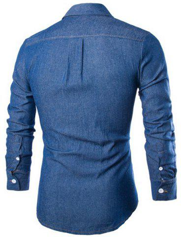 Trendy Fashion Shirt Collar Solid Color Double Pockets Slimming Long Sleeve Denim Shirt For Men - M DEEP BLUE Mobile