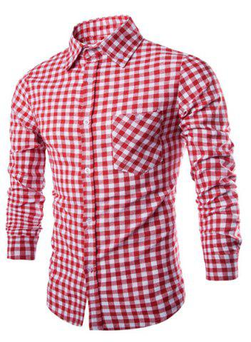 Shops Trendy Shirt Collar Simple Color Block Checked Slimming Long Sleeve Cotton Blend Shirt For Men - L RED Mobile