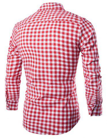 Outfit Trendy Shirt Collar Simple Color Block Checked Slimming Long Sleeve Cotton Blend Shirt For Men - L RED Mobile