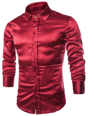 New Stylish Shirt Collar Splicing Design Solid Color Slimming Long Sleeve Cotton Blend Shirt For Men WINE RED L