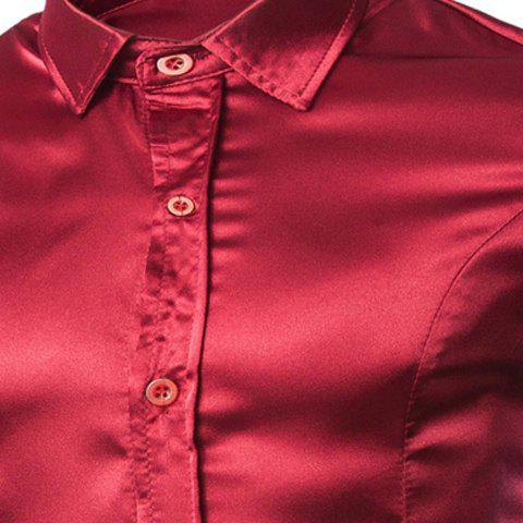 Buy Stylish Shirt Collar Splicing Design Solid Color Slimming Long Sleeve Cotton Blend Shirt For Men - L WINE RED Mobile