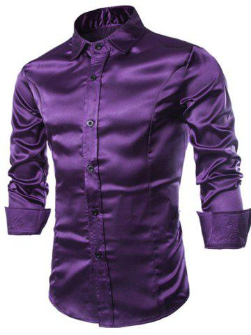 Latest Stylish Shirt Collar Splicing Design Solid Color Slimming Long Sleeve Cotton Blend Shirt For Men - XL PURPLE Mobile