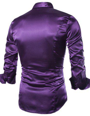 Outfits Stylish Shirt Collar Splicing Design Solid Color Slimming Long Sleeve Cotton Blend Shirt For Men - XL PURPLE Mobile